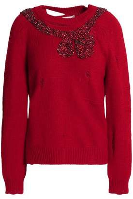 Marc Jacobs Embellished Distressed Wool And Cashmere-Blend Sweater