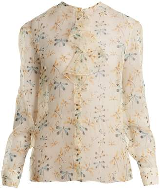 Rochas Dragonfly-print ruffle-trimmed silk-organza blouse
