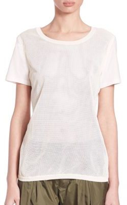 MonclerPerforated Leather & Cotton Tee