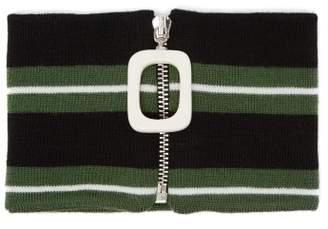 Jw Anderson - Striped Merino Wool Neckband - Mens - Black Green