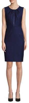 T Tahari Lucille Pleated Front Zip Dress