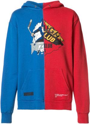 Off-White Auction House colour block hoodie $520 thestylecure.com