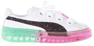 Puma Select White Leather Sneakers With Contrasting Sole