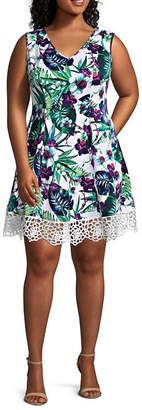Donna Ricco DR Collection Sleeveless Lace Hem Floral Print Fit & Flare Dress - Plus