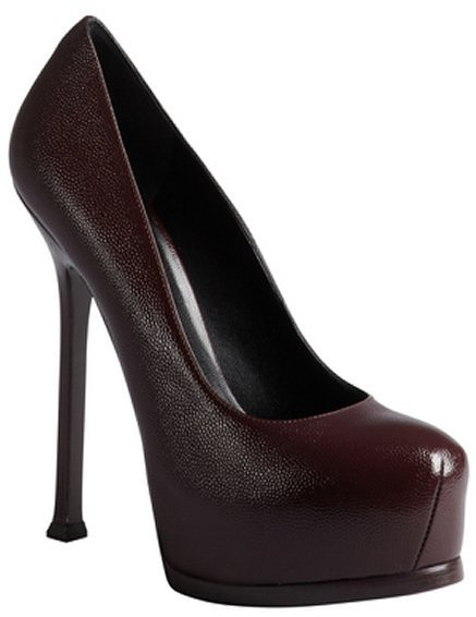 Saint Laurent bordeaux pebbled leather hidden platform pumps