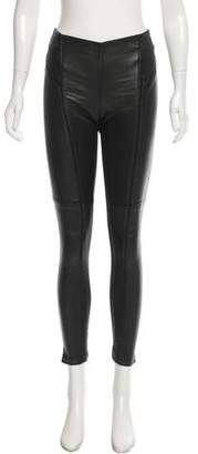 Theory Mid-Rise Leather-Accented Leggings