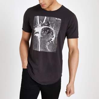 River Island Mens Only & Sons Black raw hem T-shirt