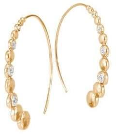 John Hardy Dot 18K Hammered Gold& Diamond Hoop Earrings