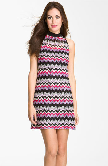 Donna Ricco High Neck Zigzag Shift Dress