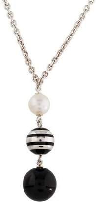 Montblanc Onyx, Pearl & Enamel Pendant Necklace