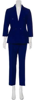 Christian Dior Notch-Lapel Mid-Rise Pantsuit Blue Notch-Lapel Mid-Rise Pantsuit