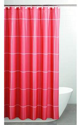 """Sparrowhawk International Sparrowhawk Brandon Twill Coral/White 71"""" x 96"""" Exra-Long Shower Curtain with Coordinating Hook, 13-Piece Set"""