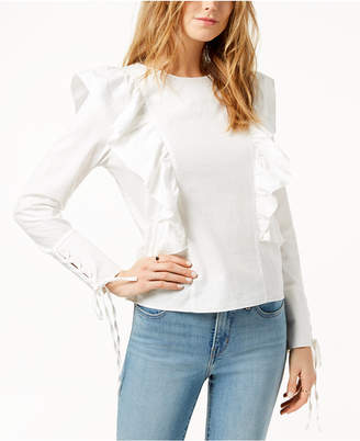 J.o.a. Cotton Lace-Up-Sleeve Ruffled Top
