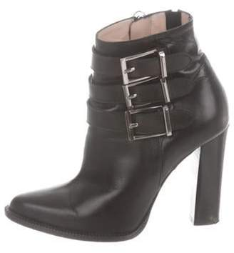 Barbara Bui Leather Pointed-Toe Ankle Boots Black Leather Pointed-Toe Ankle Boots