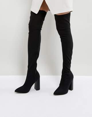 Public Desire Nebraska Black Block Heel Over The Knee Boots