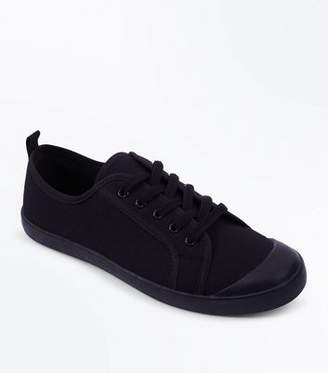 New Look Black Canvas Lace Up Trainers