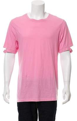Helmut Lang Slashed-Sleeve Mélange Crew Neck T-Shirt