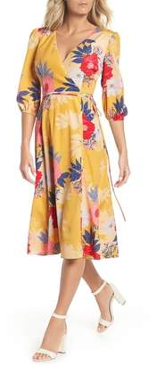 Eliza J Faux Wrap Midi Dress