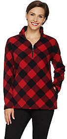 Denim & Co. Plaid Fleece Long Sleeve Half-ZipPullover