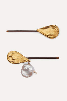 Alighieri Set Of Two Gold-plated Pearl Hair Slides - one size