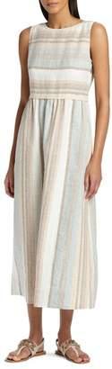 Lafayette 148 New York Betty Surrealist Stripe Linen Dress