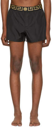 Versace Underwear Black Short Greek Key Medusa Swim Shorts