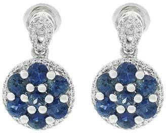ai Platinum Blue Sapphire and Diamond Earrings