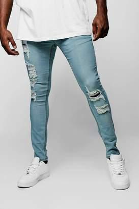 BoohooMAN Big & Tall Distressed Skinny Fit Jeans