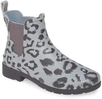 Hunter Leopard Print Refined Chelsea Waterproof Rain Boot