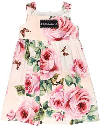 Dolce & Gabbana Roses Print Cotton Poplin Dress