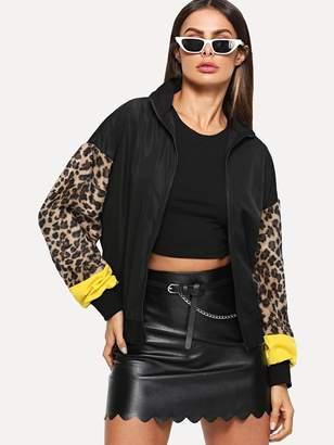 Shein Zip Up Contrast Leopard Sleeve Jacket