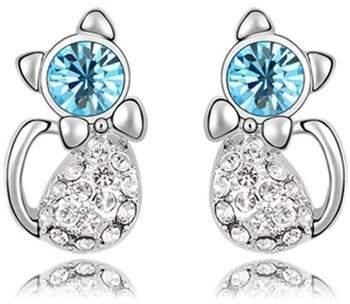 Blue Pearls Ohrringe Katzen-Ohrringe mit blauen Swarovski Elements