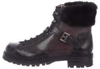 Santoni Leather Fur-Trimmed Combat Boots w/ Tags