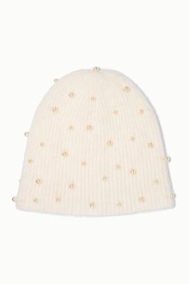 Jennifer Behr Margaux Swarovski Pearl-embellished Mohair Beanie - White