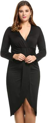 Meaneor Women Long Sleeve Elegant Sexy Plus Size Party Dress V Neck