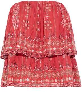 Joie Lyane Strapless Layered Printed Silk-Blend Chiffon Top