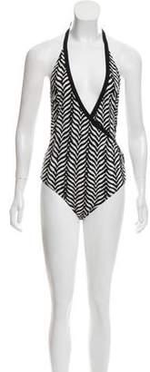 Diane von Furstenberg Zebra Halter One-Piece Swimsuit