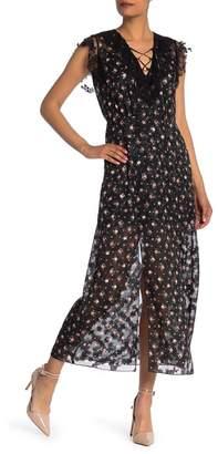 Anna Sui Birds & Roses Crepe Maxi Dress