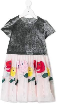 Simonetta velvet top rose embroidered dress
