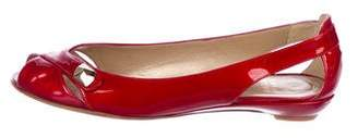 Stuart Weitzman Patent Leather Peep-Toe Flats