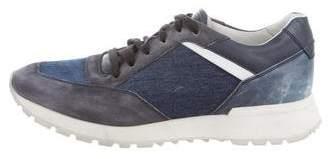 Santoni Denim-Trimmed Low-Top Sneakers