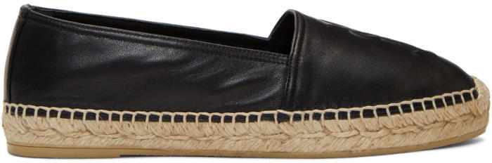 Saint Laurent Black Leather Monogram Espadrilles