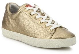 Ash Nicky Bis Metallic Leather Sneakers $198 thestylecure.com