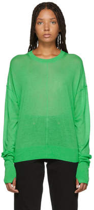 Helmut Lang Green Folded Sheer Sweater