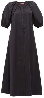 STAUD Vincent Cotton Poplin Midi Shirtdress - Womens - Black