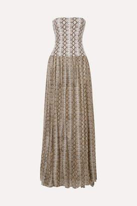 Caroline Constas Snake-print Cotton And Silk-blend Maxi Dress - Snake print