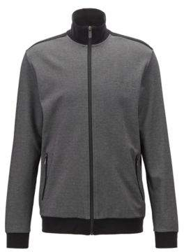 BOSS Hugo Zippered loungewear jacket in two-colored pique M Black
