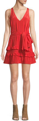IRO Blutie V-Neck Sleeveless A-Line Silk Dress with Ruffled Trim