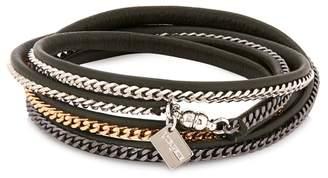 Vita Fede Capri Leather And Chain Wrap Bracelet