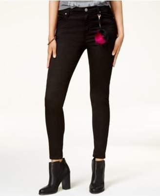Tinseltown Juniors' High-Waist Skinny Jeans with Pom-Pom